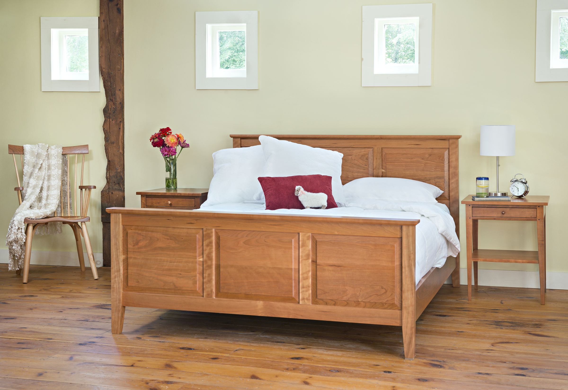 bedroom furniture raised panel bed night table side stand Raised Panel Bed